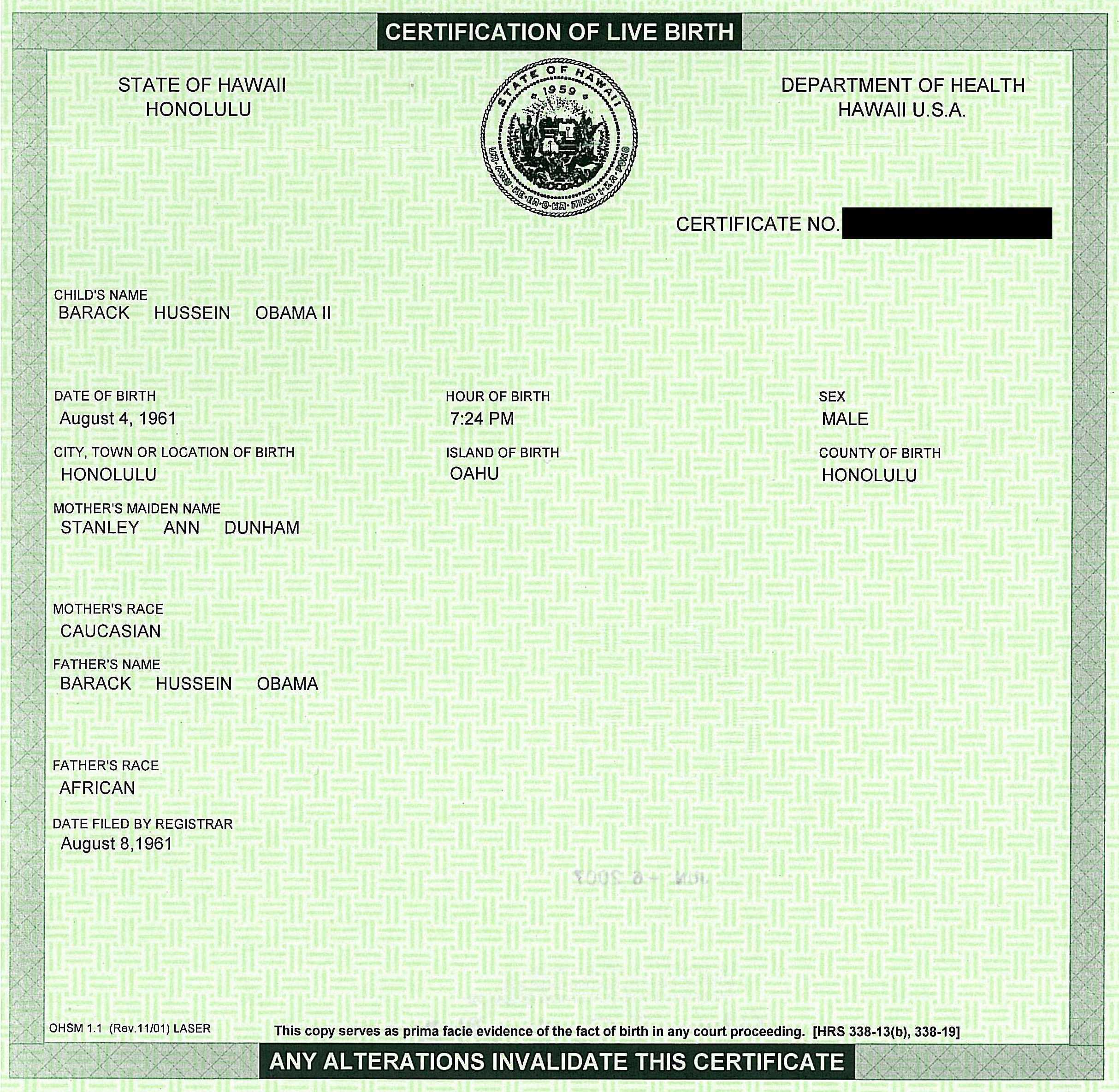 The birth of the one scragged barack obamas birth certificate xflitez Gallery